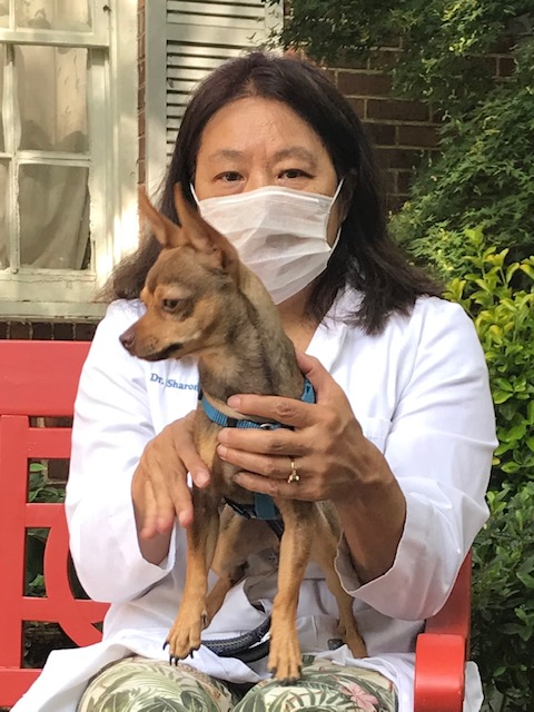 sharon wong with a dog