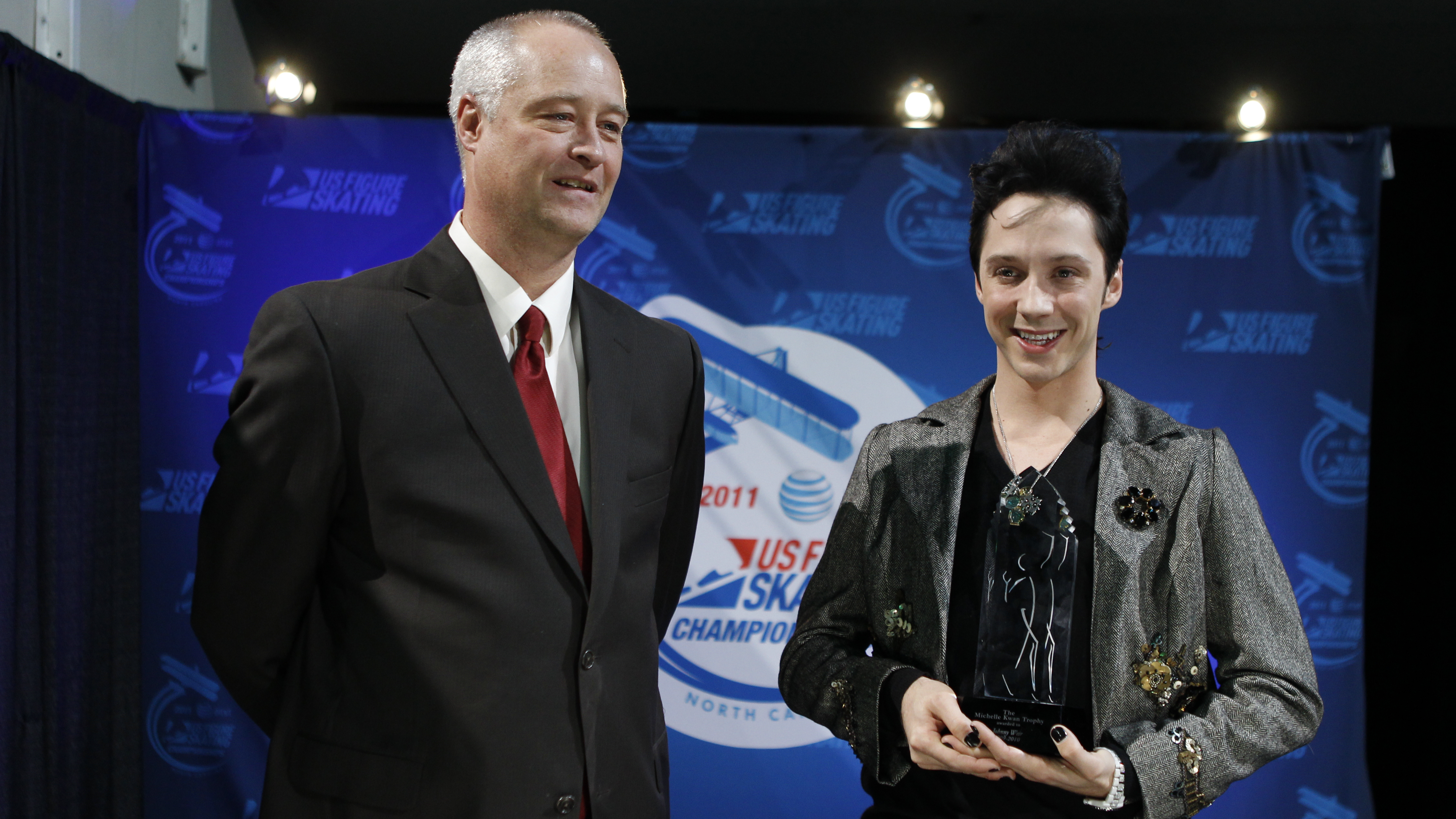 Johnny Weir accepts the Readers Choice Award in 2011