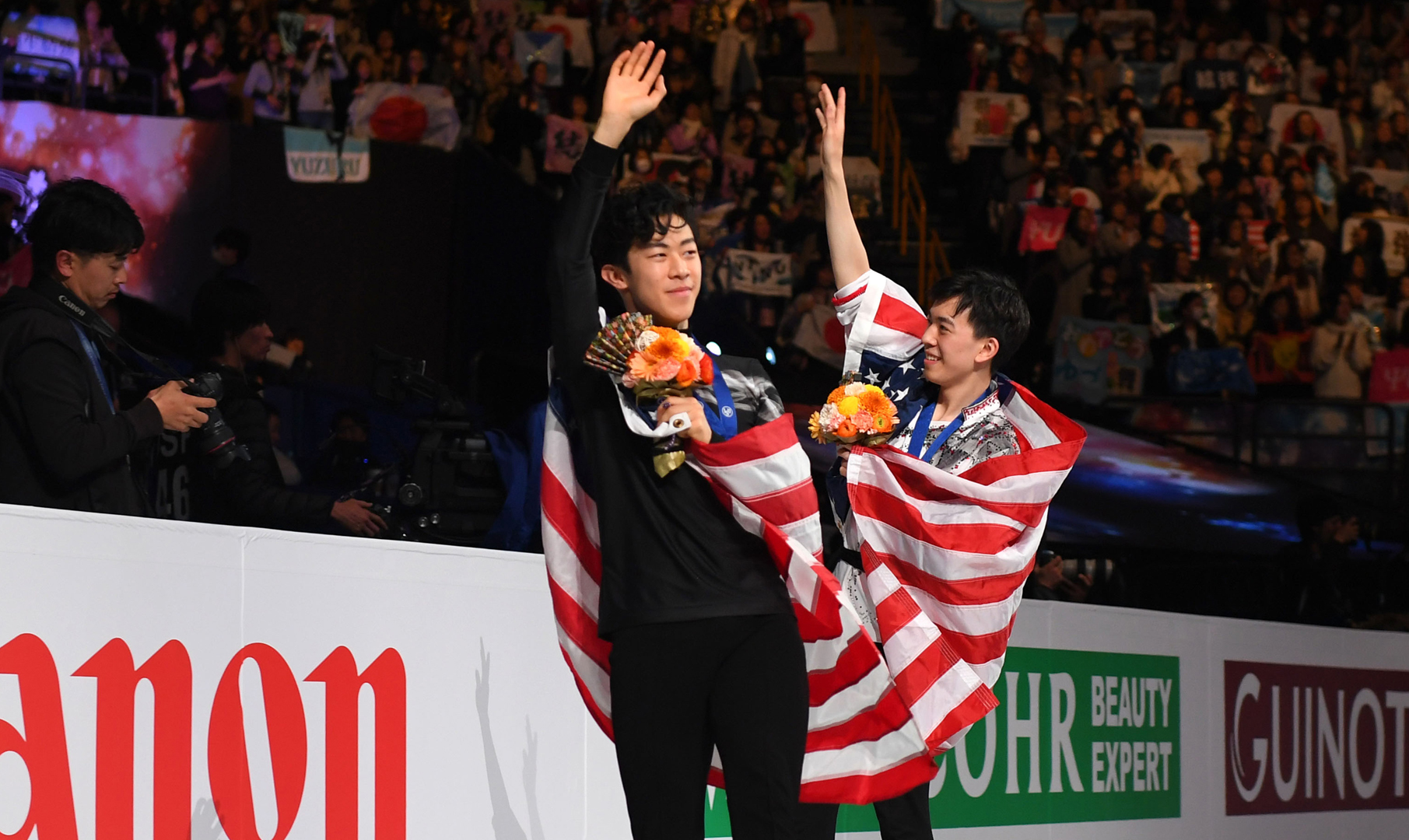 Nathan Chen and Vincent Zhou at the 2019 World Championships