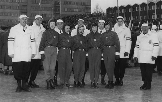 The 1952 U.S. Olympic Figure Skating Team poses for a picture at the Opening Ceremony.