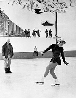 Carol Heiss practices outdoors at the Olympic Games.