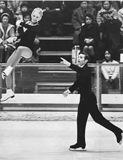 Ken Shelley throws JoJo Starbuck through the air at the 1972 Olympics