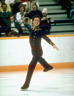Brian Boitano lands a jump at the 1988 Winter Olympics.