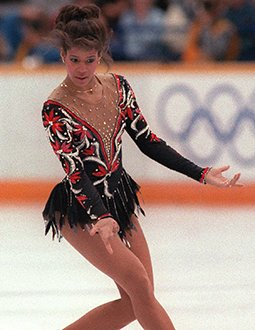 Debi Thomas performs at the 1988 Olympic Winter Games
