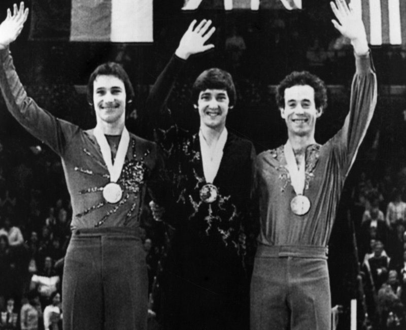 Charlie Tickner accepting medal at 1980 Olympic Winter Games.