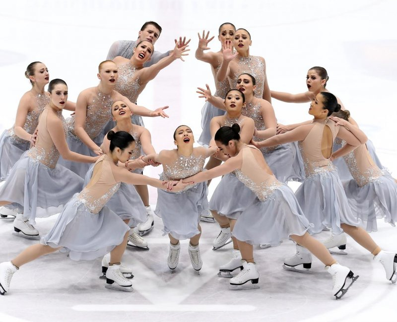 Female Synchronized Figure Skaters in Competition
