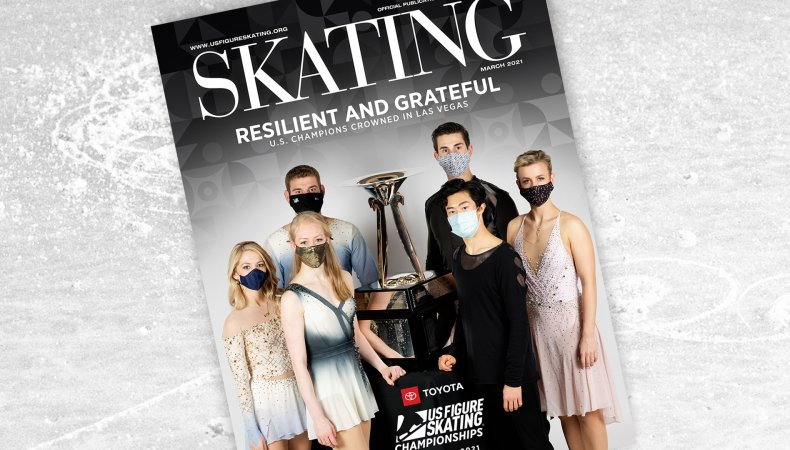 SKATING Magazine Cover for March included the U.S. champions around the trophy.