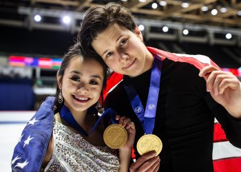 Avonley Nguyen and Vadym Kolesnik with their World Junior title.