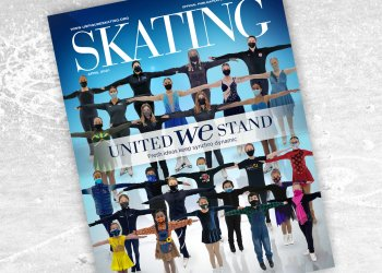 The SKATING cover for April featured dozens of Synchro skaters standing together.