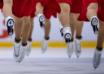 Synchronized skaters competing at the U.S. Synchronized Skating Championships