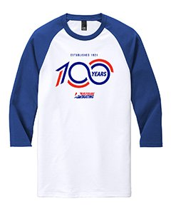 White and blue shirt with the 100 years logo