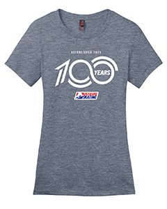 Grey shirt with a white 100 years logo