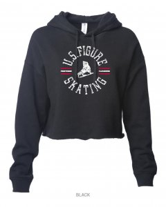 U.S. Figure Skating Black Cropped Hoodie